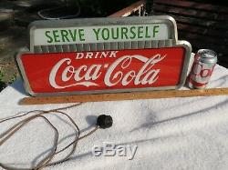 Vintage Drink Coca-cola, Serve Yourself, Lighted Sign, R597264, Underwriters Lab