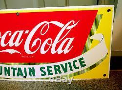 Vintage Drink Coke Coca-Cola porcelain sign, Fountain Service yellow Excellent