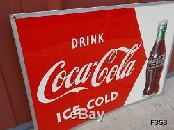 Vintage Drink Ice Cold Coca Cola Coke Soda Pop Drink Metal Sign Robertson Rare