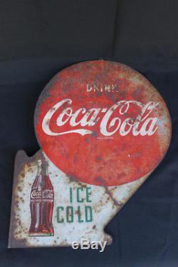 Vintage Drink Ice Cold Coca Cola Metal Flange Sign