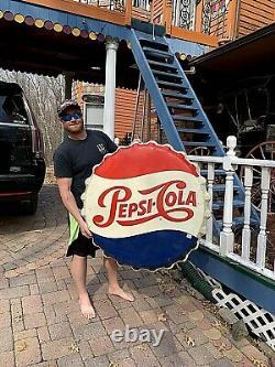 Vintage Early Lg 36in Pepsi Cola Soda Pop Metal bottle Cap Sign Coke