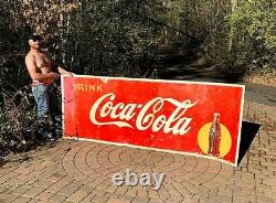 Vintage Early Metal Coca Cola Soda Pop Roll up bottle graphic Sign Coke 129X44