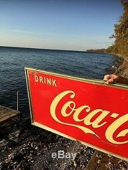 Vintage Early Metal Coca Cola Soda Pop bottle graphic Sign Coke 54X18 1952