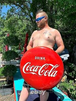 Vintage LG 24in Metal 1953 Coca Cola Soda Pop Button Sign Coke Mounting Bracket
