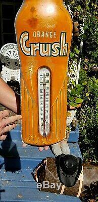 Vintage LG 29inX7in Orange Crush Beverage Bottle Soda Pop Metal Thermometer Sign