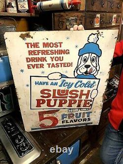 Vintage LG 30X24 Slush Puppie Frozen Beverage Drink Soda Pop 2 sided Metal Sign