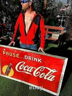 Vintage LG 56x32 Metal Coca Cola Soda Pop Bottle Graphic Sign Coke
