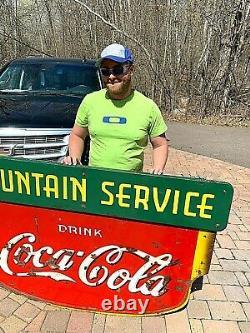 Vintage LG 63x42 Porcelain Coca Cola Soda Pop Fountain Service Graphic Sign Coke