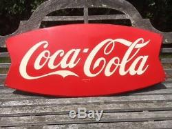 Vintage Large 42 X 20 Coca Cola Fish Tail Sign Circa 1963