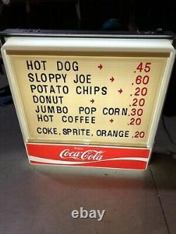 Vintage Lighted Coke Menu Sign