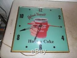 Vintage Lighted Pam clock Coca cola