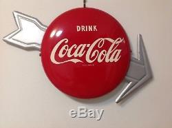 Vintage Metal 12 Coca-Cola Coke Button Arrow Sign SODA GAS OIL Non Porcelain