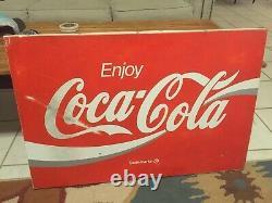 Vintage Metal 24X 36 Red White Enjoy Coca Cola Advertising Panel Sign
