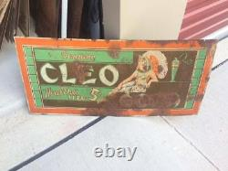 Vintage Metal RARE Cleo Cola 5 Cent Sign Cleopatra 27 GAS OIL SODA