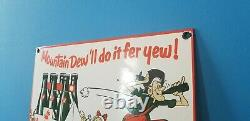 Vintage Mountain Dew Porcelain Gas Coca Cola Drink Beverage Bottles Service Sign