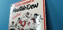 Vintage Mountain Dew Porcelain Gas Soda Coca Cola Beverage Bottles Service Sign