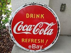Vintage Near Mint 1939 Coca Cola Porcelain Lollipop Sign