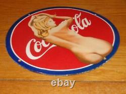 Vintage Nude Coca Cola Model 11 3/4 Porcelain Metal Soda Pop Gasoline Oil Sign