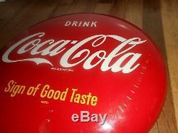 Vintage ORIGINAL COCA COLA COKE SODA POP AM99 Advertising 12 ROUND BUTTON SIGN