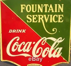 Vintage Old Coca Cola Fountain Service Double Side Ad Porcelain Enamel Signboard