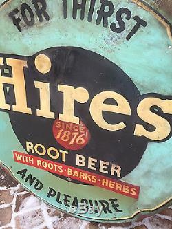 Vintage Old Large 42in Round 1950 Hires Root Beer Soda Pop Metal Sign Rootbeer