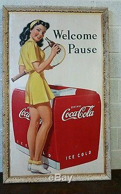 Vintage Old Original 1946 Coca Cola Poster With Girl And Coke Cooler