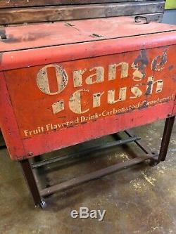 Vintage Orange Crush Ice Chest Cooler Coca Cola Coke 7up Pepsi Dr Pepper Sign