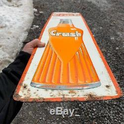 Vintage Orange Crush Sign Made In Canada Barker 1967 81/2 X 35