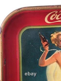 Vintage, Original, 1937 Coca-Cola Serving Tray, Girl Running on Beach, VG/VG+