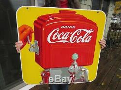 Vintage Original 1939 Porcelain Coca Cola Dispenser Sign Double Sided And Dated