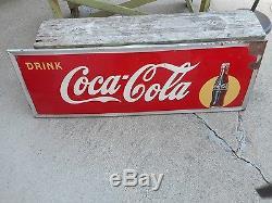 Vintage Original 1940s Coca Cola COKE Soda Pop Advertising Self Framed SIGN