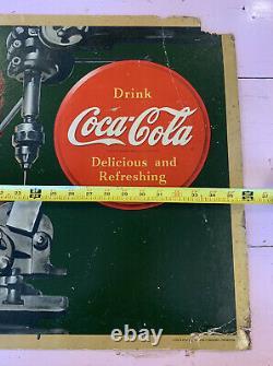 Vintage Original 1943 Coca-Cola Litho Cardboard Sign Ad Large Face Your Job RARE