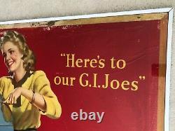 Vintage, Original, 1944 Coca Cola Cardboard Sign, Large, WWII era, Our GI Joes