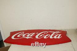 Vintage Original 1950's 1960's Coca Cola Fishtail Gas Station 42 Metal Sign