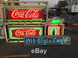 Vintage Original 1950's Coca Cola Bottle Porcelain Sign with New Neon and Can