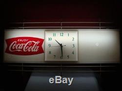 Vintage Original 1950's Coca-Cola Lighted Fishtail Clock Diner Hotel Sign Works