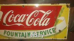 Vintage Original 1950's Coca Cola Soda Porcelain Metal not Tin Sign