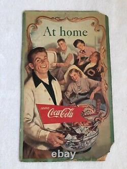Vintage, Original, 1950's Double-Sided Coke Cardboard Sign, At Home/Refresh