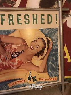 Vintage Original 1950s COCA COLA Double FRAMED Cardboard Sign 20 X 36