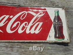 Vintage Original 1950s DRINK COCA COLA COKE SODA POP BOTTLE TIN ADVERTISING SIGN