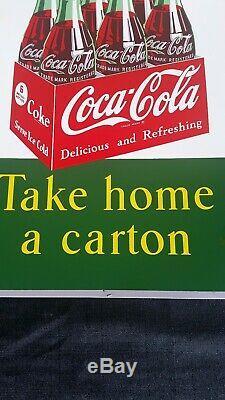 Vintage Original 1951 COCA-COLA Take Home a Carton Sign