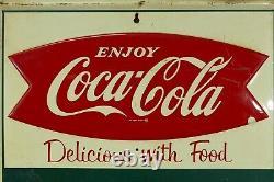 Vintage Original 1960s Coca Cola Fishtail Menu Board Chalkboard Embossed HTF