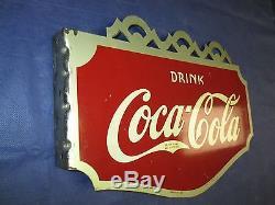 Vintage/Original COCA-COLA Metal Flange Soda SignDated 1937A. A. W SignWOW! OMG