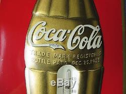 Vintage/Original COCA-COLA Thermometer Metal Sign1923 CHRISTMAS BOTTLE LOGOWOW