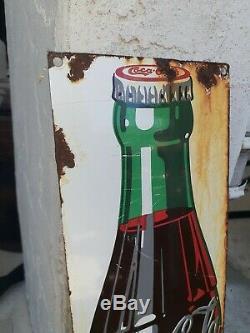 Vintage Original Coca Cola Sign Authentic Ceramic Metal Sign Soda Gas Oil 1950s