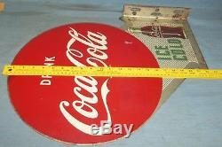 Vintage Original Drink Coca Cola Arrow 22 Metal Flange Sign AM 1-54