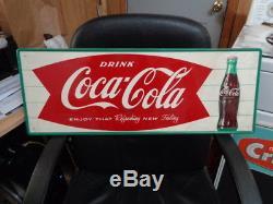 Vintage Original NOS 1950's-60's Coca-Cola Fishtail Coke Bottle Soda Sign