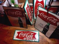 Vintage Original Sign-COCA COLA COKE FISHTAIL Advertising Soda Sign