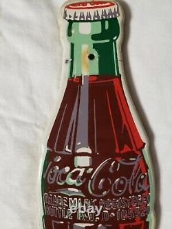 Vintage PORCELAIN Die Cut Coca Cola Coke Soda Pop Bottle for COLONIAL SIGN