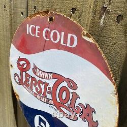 Vintage Pepsi Cola Porcelain Sign Soda Drink Pop Coke Oil Gas Station Petroliana